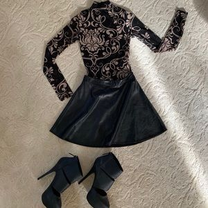 Two-piece, nightlife outfit with matching shoes.